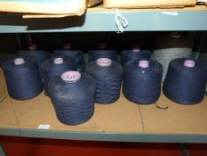 10 Large Cones of Blue Thread and a Large Cones of Grey Thread