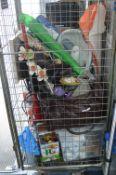Cage Lot of Household Goods; Mini Vacuum, Parasol,