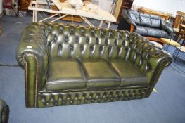 Green Leather Chesterfield Three Seat Sofa