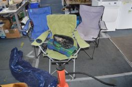 Three Folding Camping Chairs, Inflatable Air Bed,