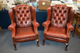 Pair of Red Leather Chesterfield Wingback Armchair