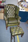 Green Leather Chesterfield Wingback Armchair with
