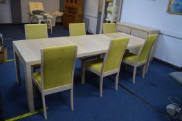 Extending Dining Table in Limed Oak Finish with Si