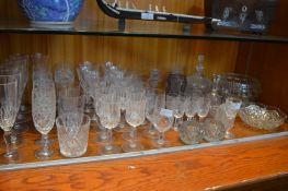 Cut Crystal Wine Glasses, Fruit Bowls, Candlestick