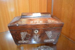 Period Mahogany Tea Caddy with Mother of Pearl Inl