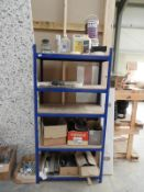 *Section of Blue Boltless Shelving and Contents