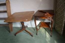 Tilt Top Table and a Two Shelf Hall Table (both for restoration)