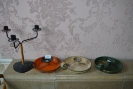 Three Enamel Candle Holders and One Other