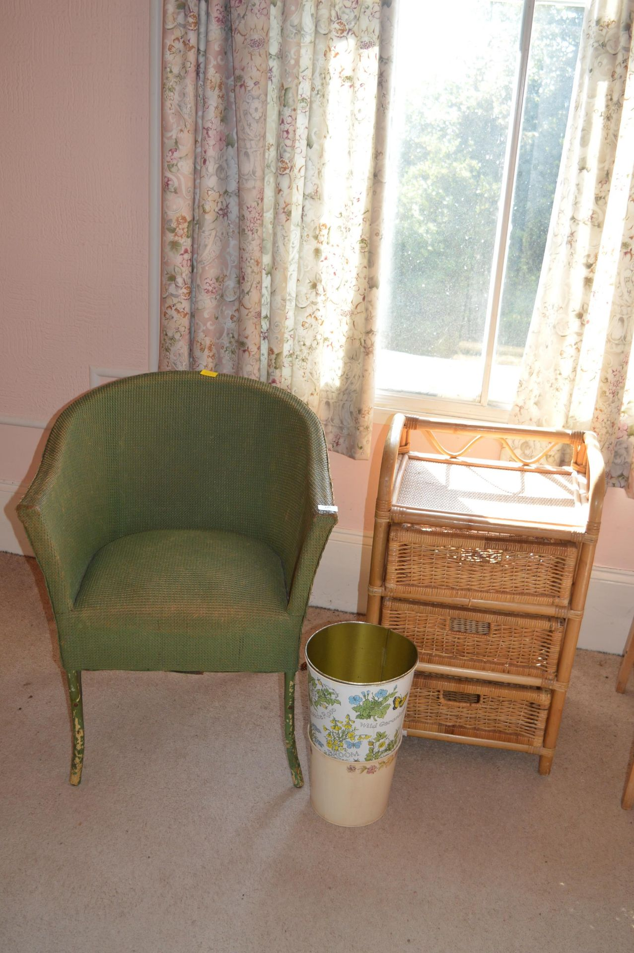 Vintage Lloyd Loom Style Chair, Wicker Shells, and Waste Paper Bins