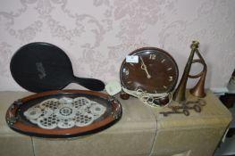 Vintage Clock, Horns, etc.