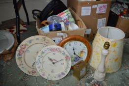 Box Containing Clocks, Lamps and Kitchen Items, etc.