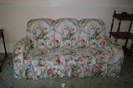 Floral Upholstered Slab End Three Seat Sofa