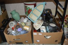 Two Boxes of Assorted Kitchen Items, Mugs, Bowls, etc.