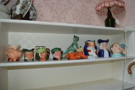 Shelf of Character Jug, Ornaments, etc. Including Royal Doulton