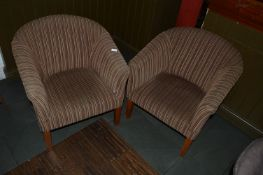 Pair of Brown Stripped Tub Seats