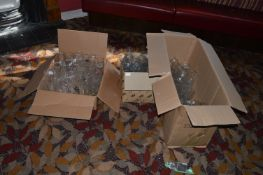 Three Boxes of Various Branded and Unbranded Bar Glass