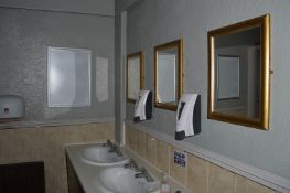 Two Soap Dispensers, Three Gilt Framed Mirrors and Two A2 Clip Frames