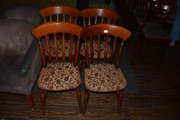 Four Slatback Dining Chairs with Upholstered Seats