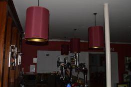 Four Burgundy Lampshades