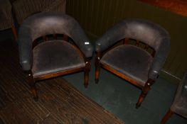 Pair of Leatherette Tub Seats on Turned Legs