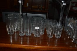 Assorted Branded and Unbranded Half Pint Glasses and High Ball Tumblers