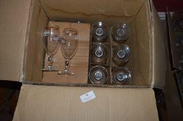 Twelve Pint and Two Half Pint Stella Glasses