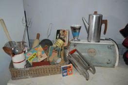 Vintage Kitchenalia, Bread Bin, Utensils, etc.