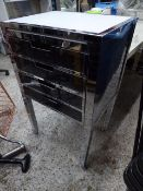 *chrome and white 4 drawer display table unit 600 X 450 X 1000