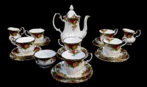 A Royal Albert porcelain part tea and coffee service, decorated in the Old Country Roses pattern,