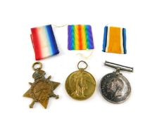 Three Great War medals, named to private Percy Judd, first Bn. Wiltshire Regiment, service no.