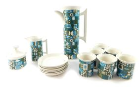 A Portmeirion pottery part coffee service, decorated in the Tivoli pattern, designed by Susan