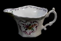 A First Period Worcester polychrome porcelain cream boat,