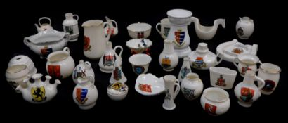 Goss and Crested china, including the old horse shoe, arms of Blandford Forum, lobster trap Arms