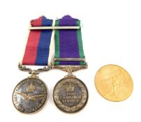 Queen Elizabeth II Medal pair, comprising General Service Medal with Borneo clasp and RAF Long