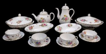 A group of Royal Worcester porcelain decorated in the Roanoke pattern, Z2827, comprising of a pair