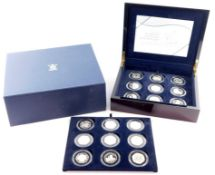 A Royal Mint Diamond Wedding Anniversary Silver Proof Coin Collection, H M The Queen and HRH