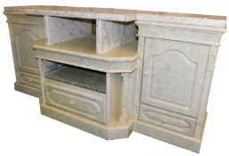 A modern kitchen side cabinet, with marble effect top, 186cm wide.