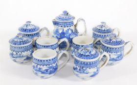 A group of 18th/19thC Chinese blue and white porcelain tablewares, comprising lidded sparrow beak
