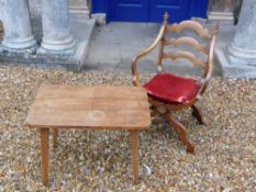 A late 19thC continental walnut Savonarola type chair, the ladderback with champered supports and