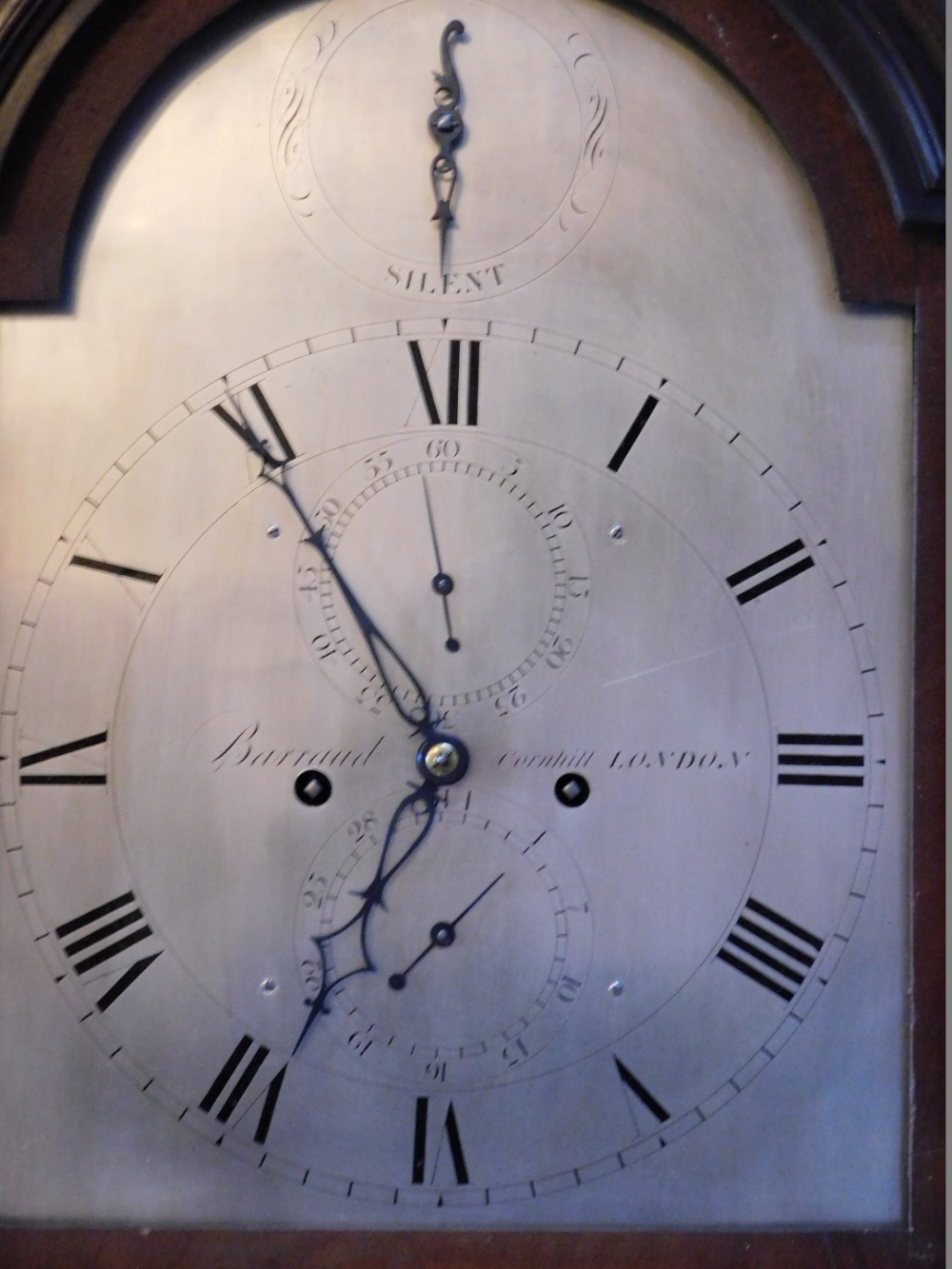 Barraud of Cornhill, London. A George III mahogany longcase clock, the arched silver dial with - Image 2 of 4