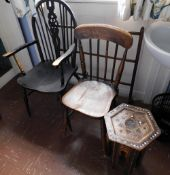 Four items of furniture, to include a 19thC spindle turned kitchen chair with elm seat (AF), an