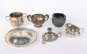 A late Victorian silver porringer type sugar bowl, with two ring handles, London 1900, an