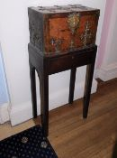 A French 17thC Kingwood Coffre Forte, with brass Gothic style straps, the hinged lid enclosing a