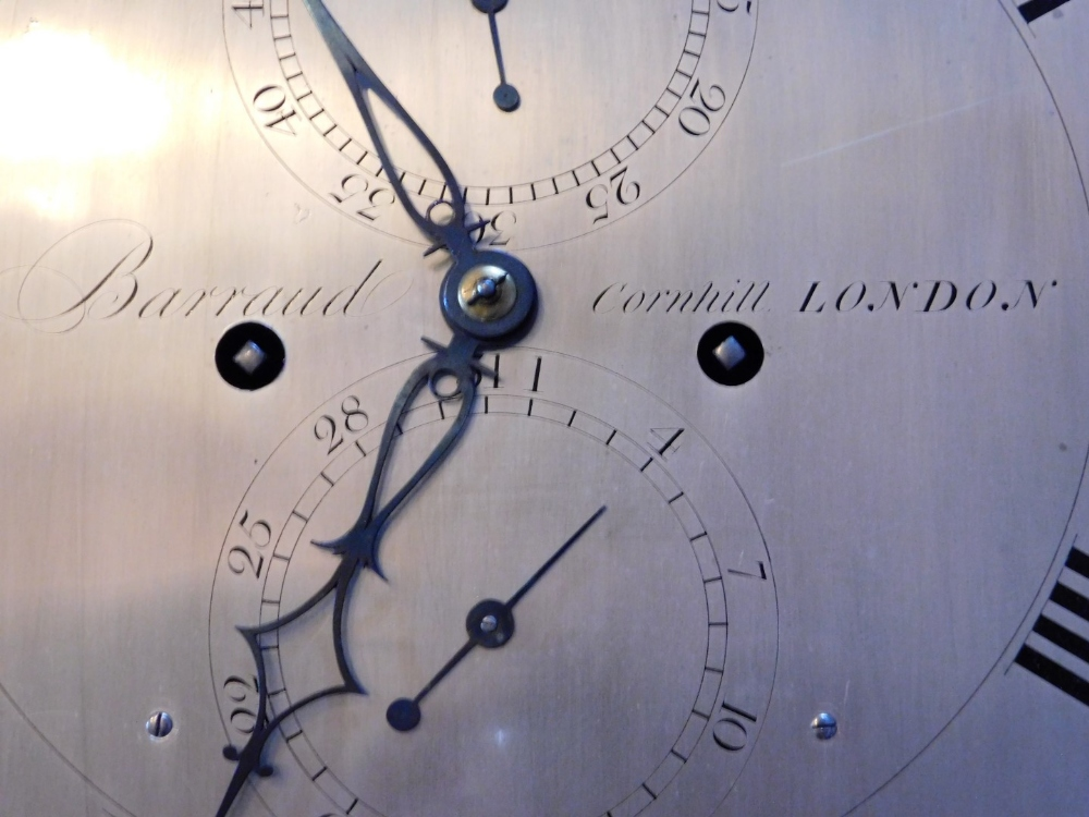 Barraud of Cornhill, London. A George III mahogany longcase clock, the arched silver dial with - Image 3 of 4