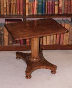 A 19thC mahogany occasional table, the rectangular top with rounded corners on an octagonal tapering