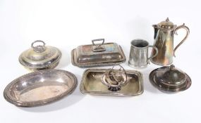 Four silver plated entree dishes, a silver plated muffin dish, an Elkington silver plated hot