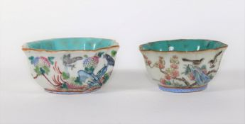 Two similar 19thC Chinese porcelain bowls, with turquoise interior painted with birds, berries and