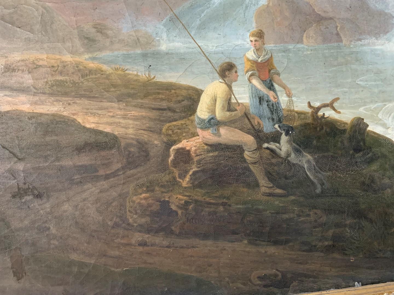 Jacob More (British 1740-1793). The Falls of Tivoli, with figures of a fisherman, his companion - Image 3 of 6