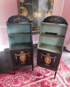 A pair of George III painted waterfall side cabinets, on a black ground, each with a raised top