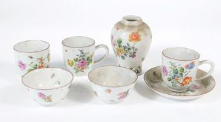 A group of London decorated Chinese porcelain, c.1740/60, including tea caddy, three coffee cups,
